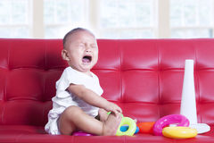 Baby girl crying Stock Photo