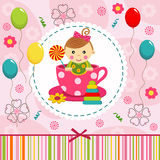 Baby girl in cup. Little baby girl in cup - vector illustration Royalty Free Stock Images