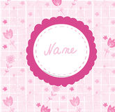 Baby girl cute announcement card with frame. Name Royalty Free Stock Image