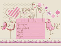 Baby girl cute card. Baby girl arrival panel with flowers, heart and birds Stock Images