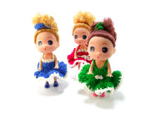 Baby girl cute doll with colorful knitting Royalty Free Stock Photography