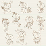 Baby Girl Cute Doodles - for design and scrapbook Royalty Free Stock Photography
