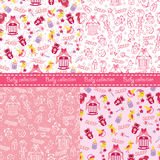 Baby girl cute seamless pattern set.Sleep newborn items collecti Stock Photography
