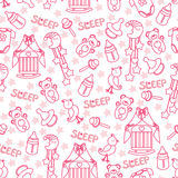 Baby girl cute seamless pattern. Sleep newborn ite Stock Photo