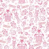 Baby girl cute seamless pattern. Sleep newborn ite Stock Photo