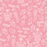 Baby girl cute seamless pattern. Sleep newborn ite Stock Photography
