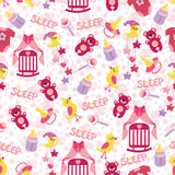 Baby girl cute seamless pattern. Sleep newborn ite Royalty Free Stock Images