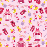 Baby girl cute seamless pattern. Sleep newborn ite Royalty Free Stock Photo