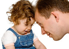 Baby girl with dad, isolated Stock Photography
