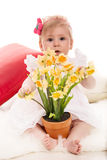 Baby girl with daffodils in a pot Stock Photo