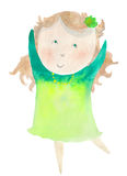 Baby girl. The dancing girl, cartoon illustration isolated on white background Stock Image