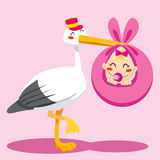 Baby Girl Delivery. Stork with hat carrying a newborn baby girl on a pink blanket Stock Photo