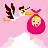 Baby Girl Delivery Stork. Stork flying with cute baby girl wrapped on pink blanket package for delivery Stock Image