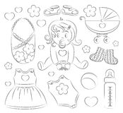Baby girl design elements. With pram, rattle, pacifier, baby, rompers and other Royalty Free Stock Photography