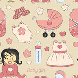Baby girl design pattern. With pram, rattle, pacifier, baby, rompers and other Royalty Free Stock Image