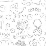 Baby girl design pattern. With pram, rattle, pacifier, baby, rompers and other Royalty Free Stock Photo