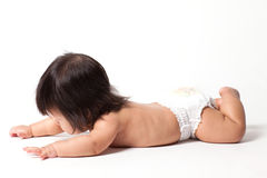 Baby girl in diaper Royalty Free Stock Photos