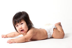 Baby girl in diaper Stock Photo