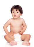 Baby girl with diaper sitting Stock Image