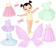 Baby Girl with Different Fairy, Ballet and Princess Dresses royalty free illustration