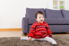 Baby girl doing legs splits Royalty Free Stock Photo
