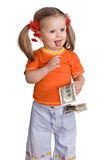 Baby girl with dollar banknote. Stock Photography