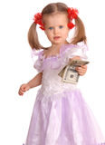 Baby girl with dollar  banknote. Stock Photos