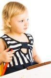 Baby girl drawing Royalty Free Stock Photos