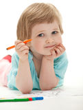 Baby girl drawing with colorful felt-tip pens Stock Photography