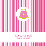 Baby girl dress. Baby girl arrival announcement card .Card with pink and a dress in the center Royalty Free Stock Image