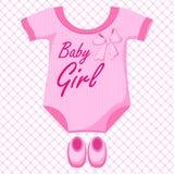 Baby Girl Dress. Vector illustration of baby girl dress against pattern Stock Images