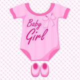 Baby Girl Dress. Vector illustration of baby girl dress against pattern Royalty Free Stock Images