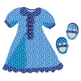 Baby girl dress with blue polka dot. Pattern Royalty Free Stock Image