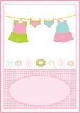 Baby girl dress card. Baby girl birthday card, baby clothing, vector illustration Royalty Free Stock Photos
