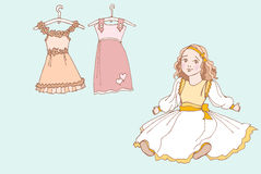 Baby girl dress 1 color. Cute doll and doll dresses for girls Stock Photos