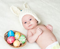 Baby girl dressed in Easter bunny cap Royalty Free Stock Images