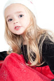 Baby girl dressed up for Christams Stock Photo
