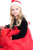 Baby girl dressed up for Christams Stock Photography
