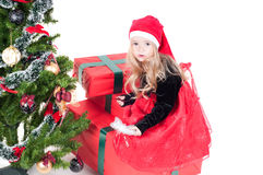 Baby girl dressed up for Christams Stock Images