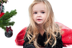 Baby girl dressed up for Christams Royalty Free Stock Images