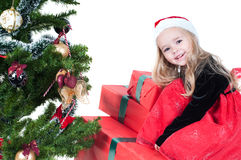 Baby girl dressed up for Christams Stock Image