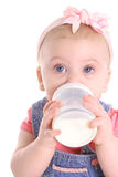 Baby girl drinking a bottle. Shot of a baby girl drinking a bottle Royalty Free Stock Photography