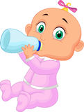 Baby girl drinking milk. Illustration of Baby girl drinking milk Stock Image