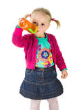 Baby girl drinking tea Royalty Free Stock Photography