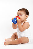 Baby girl drinking water Stock Image
