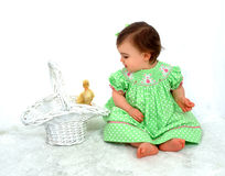 Baby Girl and Duck Royalty Free Stock Photo