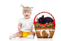 Baby girl with Easter bunny Royalty Free Stock Images