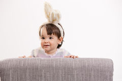 Baby girl in easter costume Royalty Free Stock Image