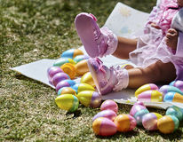 Baby Girl with Easter Eggs Royalty Free Stock Photos
