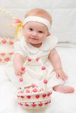 Baby Girl at Easter. Baby Girl in White Easter Dress with Basket Royalty Free Stock Photos
